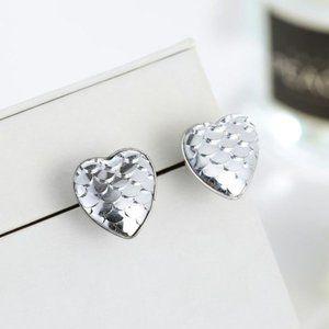 3/$20 Silver Mermaid Scale Heart Stud Earr…